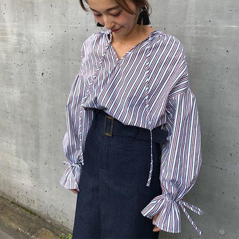 <ADIRA>maocollar stripe blouse AR181SH02