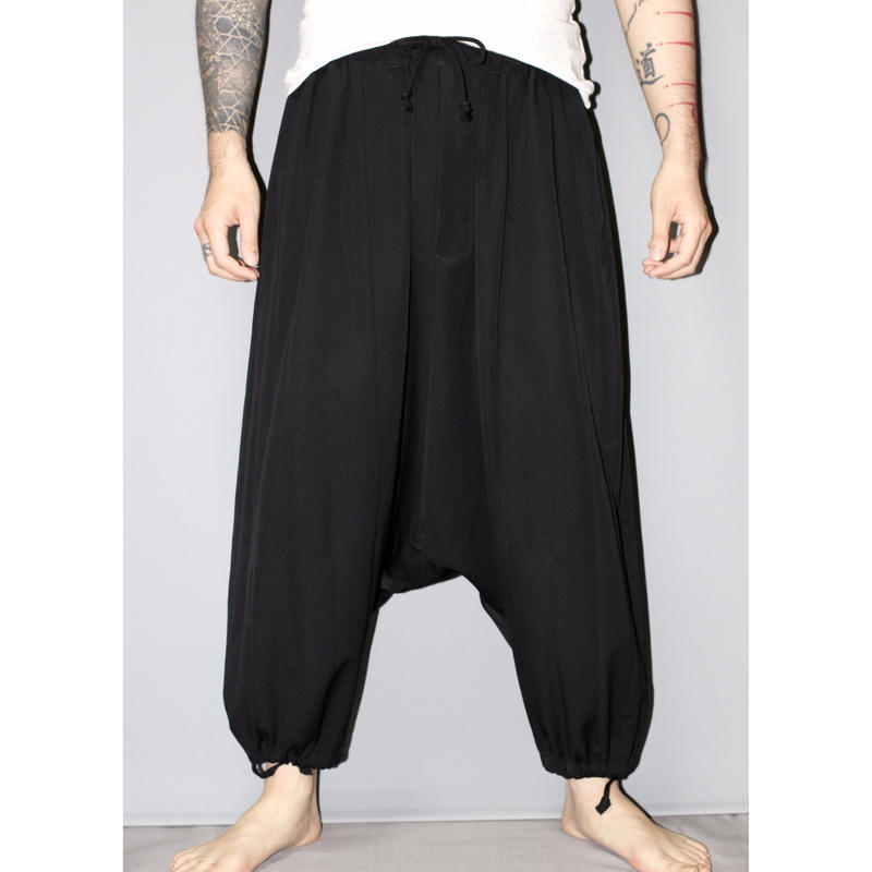 SS16 Yohji yamamoto pour homme / Wool gabardine vertical line paneled sarouel trousers