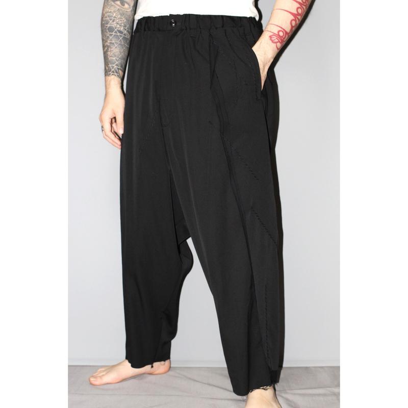 Yohji yamamoto pour homme / AW15 3 layered drop crotch wide trousers