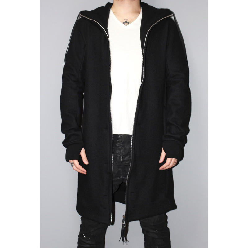 BORIS BIDJAN SABERI / Felted long hoodie coat ZIPPER3
