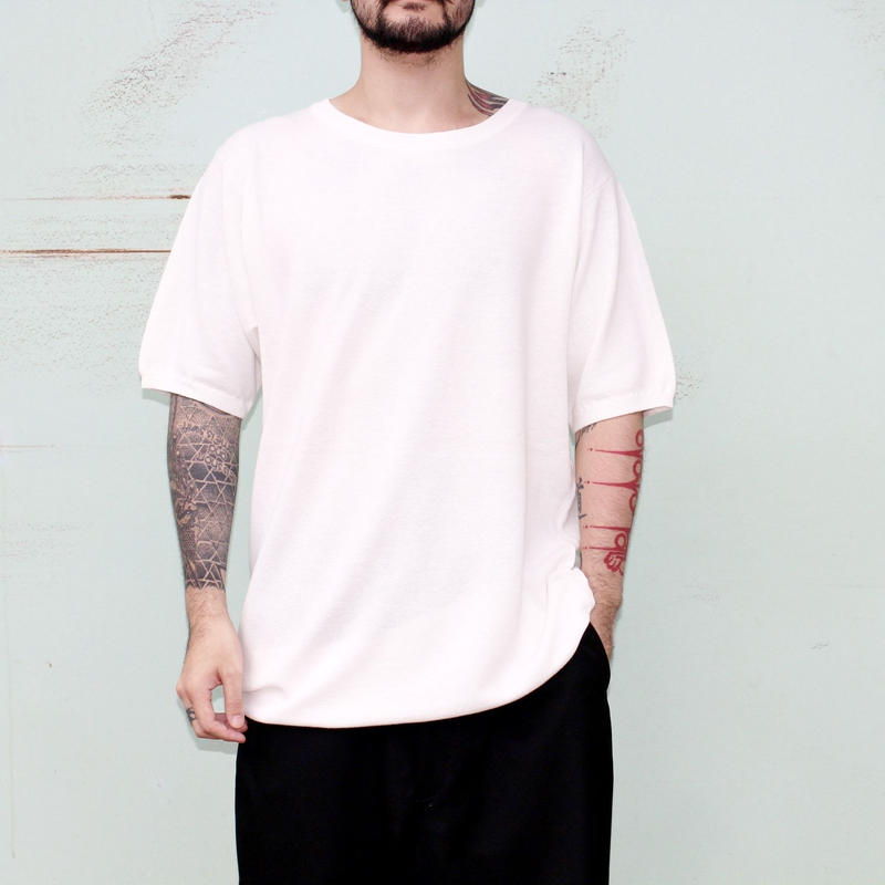 "the Sakaki / the Bang / Short sleeve Uneck ""編み物""(Amimono/ Knit)--WHITE--"