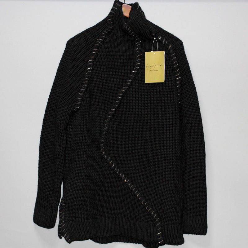 Yohji yamamoto pour homme / 18AW Embroidered heavy wool high neck knit