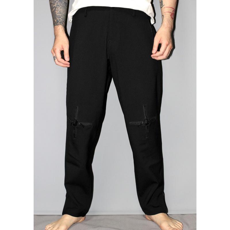 Yohji yamamoto pour homme / 18AW Knee cross zip wool trousers