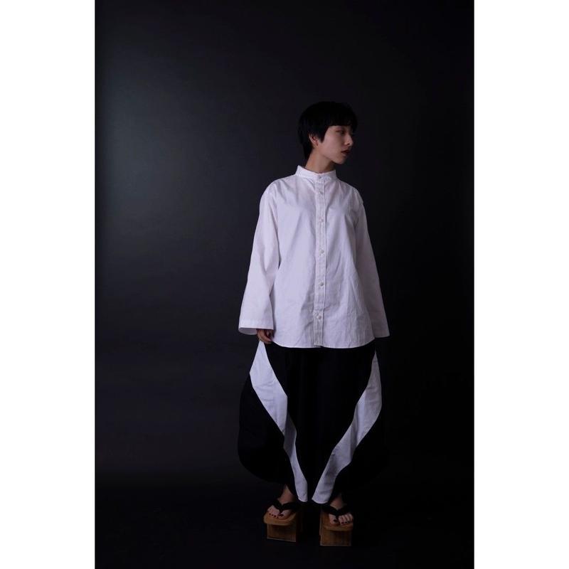 フレアスリーブシャツ-欠- 白