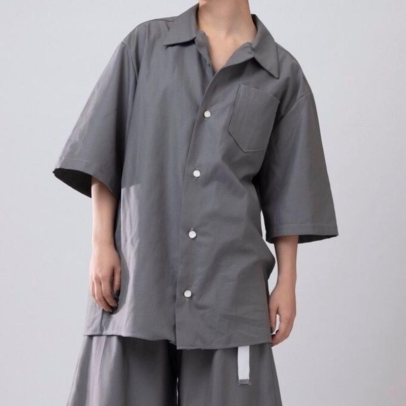 開襟シャツ-朧- グレー