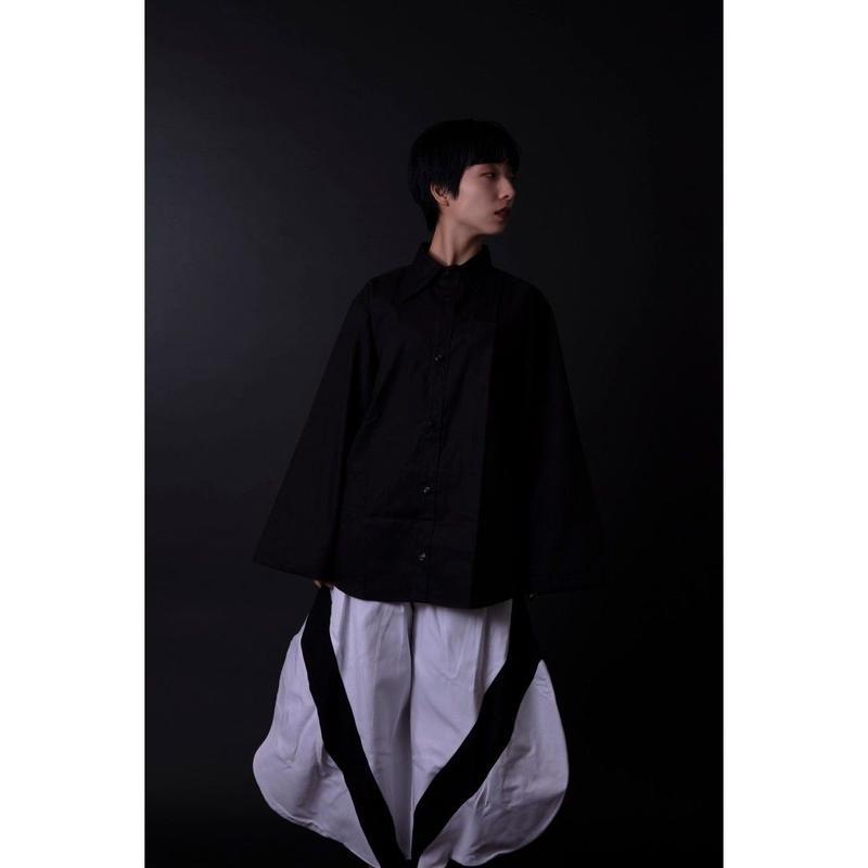 フレアスリーブシャツ-欠-  黒