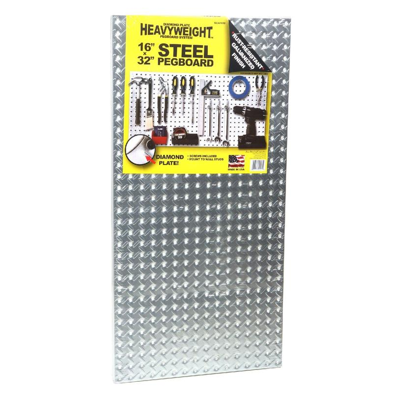 "HEAVYWEIGHT Steel Pegboard 16""×32"""