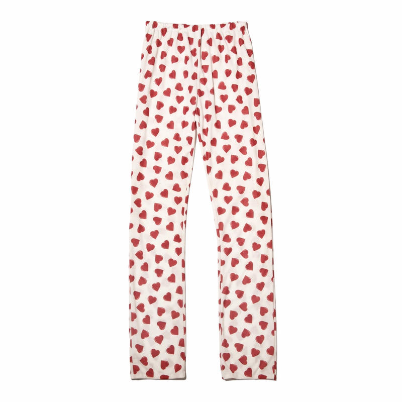 heart print easy pants / rouge red