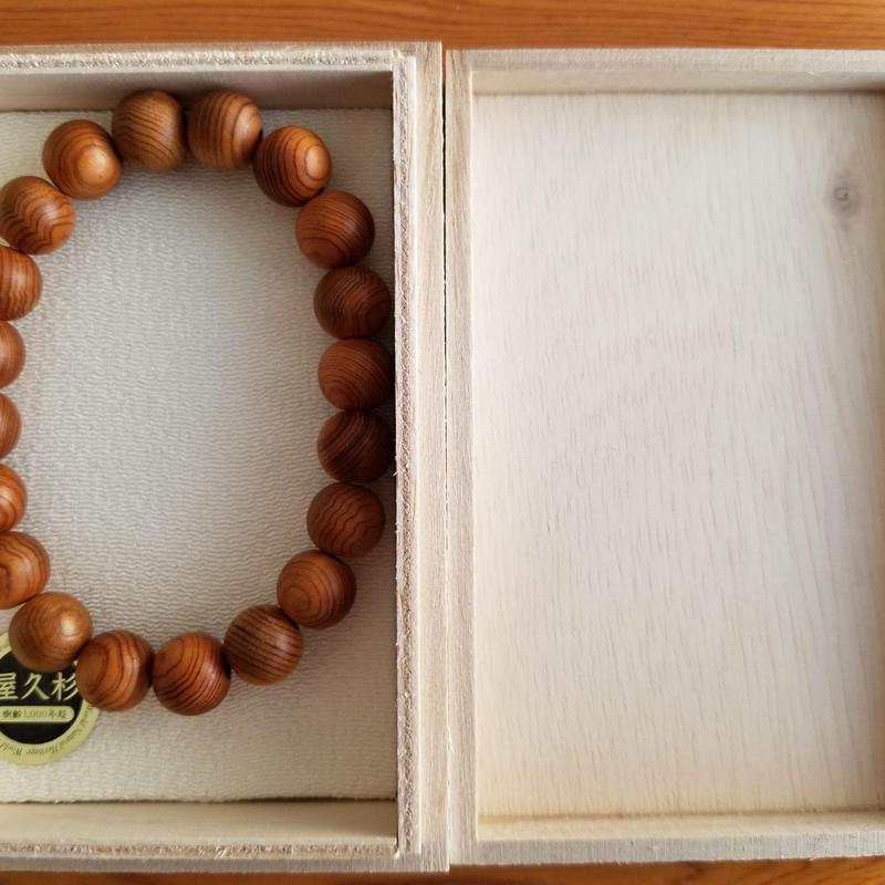 屋久杉ブレスレット 10mm玉×20粒 木箱入り 数珠
