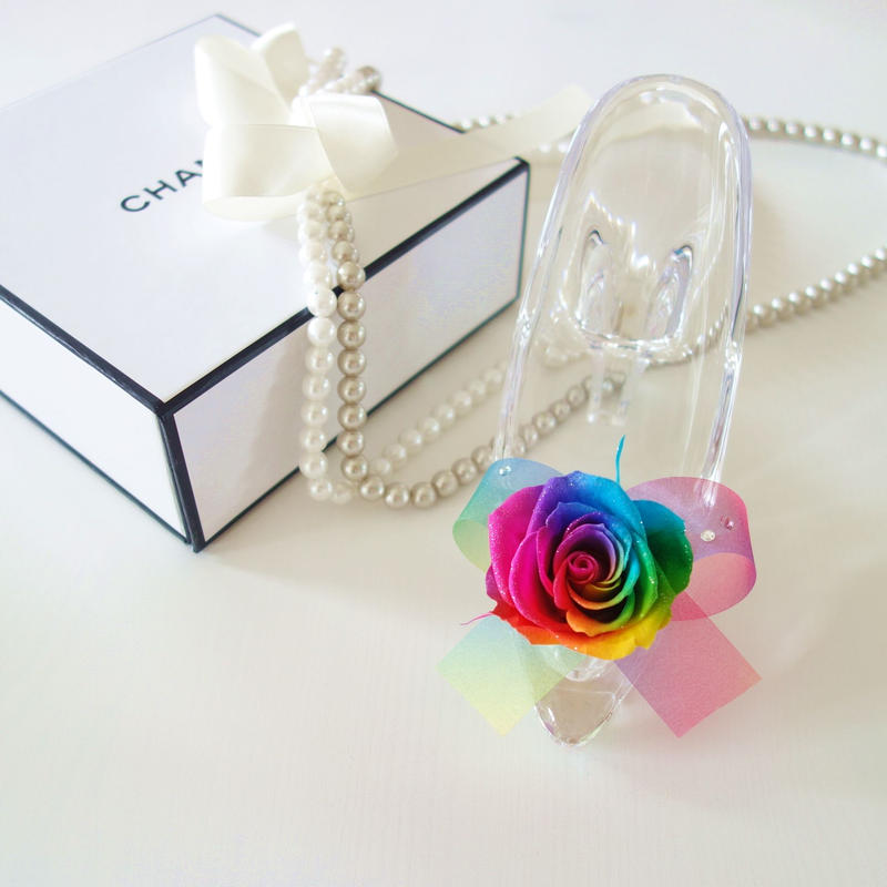 "Cinderella ""lumiere"" ♡シンデレラのガラスの靴♡レインボーローズアレンジ"