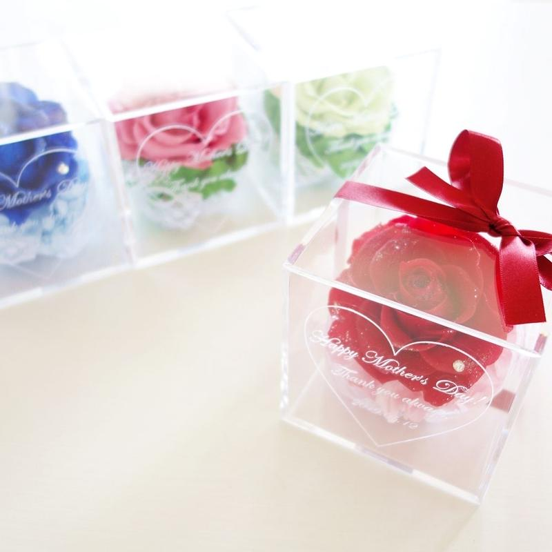 """当店おすすめ《名入れギフト☆メッセージ刻印》選べる4color! message ROSE """"COLORFUL ROSE"""" 一輪のバラのフラワーボックス"""