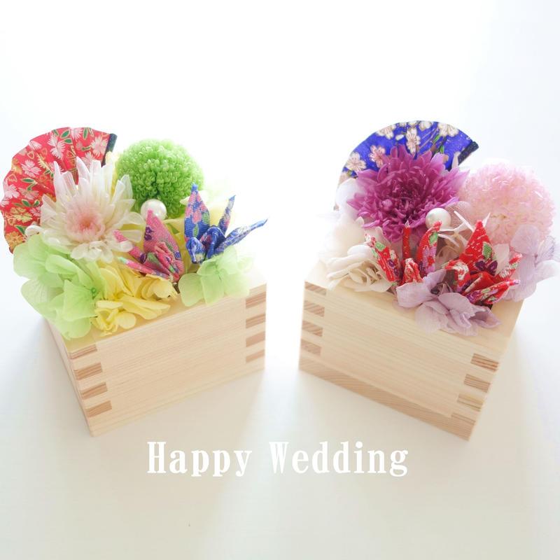 """DT's Wedding  """"TSURU""""  和装♡和ウエディング♡夫婦鶴の枡リングピロー"""