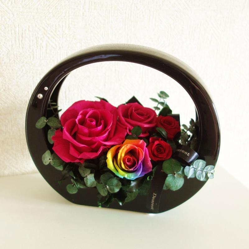 "RAINBOW ROSE ""flower hand basket BLACK "" レインボーローズの上品アレンジ"
