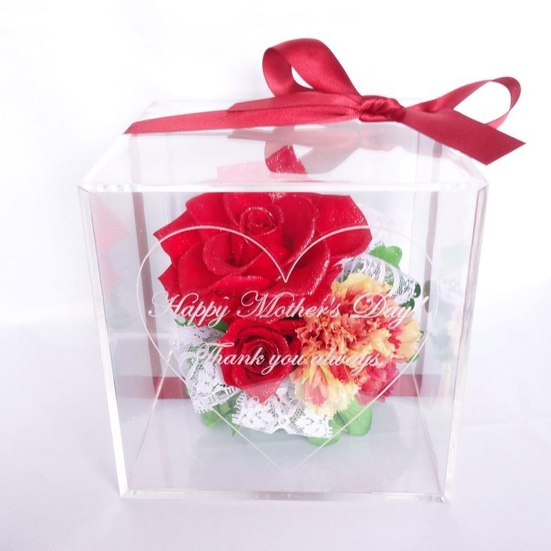 """《名入れギフト☆メッセージ刻印》message ROSE """"Frill carnation"""" ☆大きいサイズ☆カーネーションとバラのフラワーボックス"""