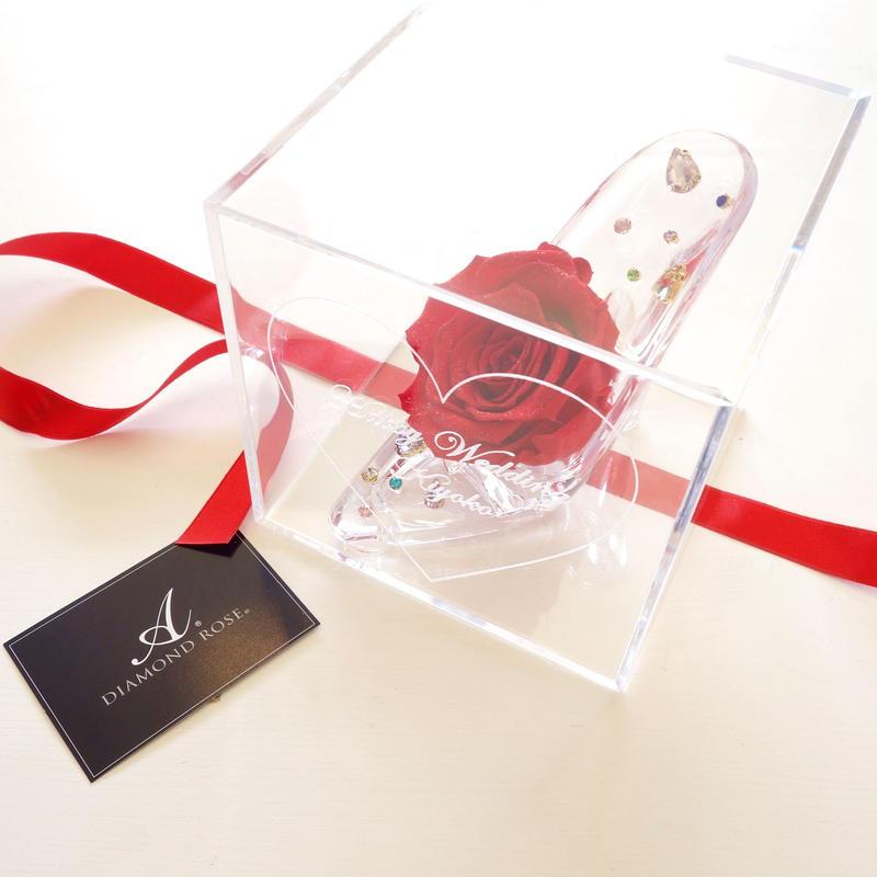 """《名入れギフト☆メッセージ刻印》message ROSE """"DIAMOND ROSE""""(RED)☆大きいサイズ☆高級ダイヤモンドローズがきらめくガラスの靴"""