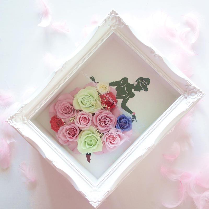 """《名入れギフト☆メッセージ刻印》LUXURY BOX  """"PINK dress"""" バラのドレスをまとったシンデレラフレーム"""