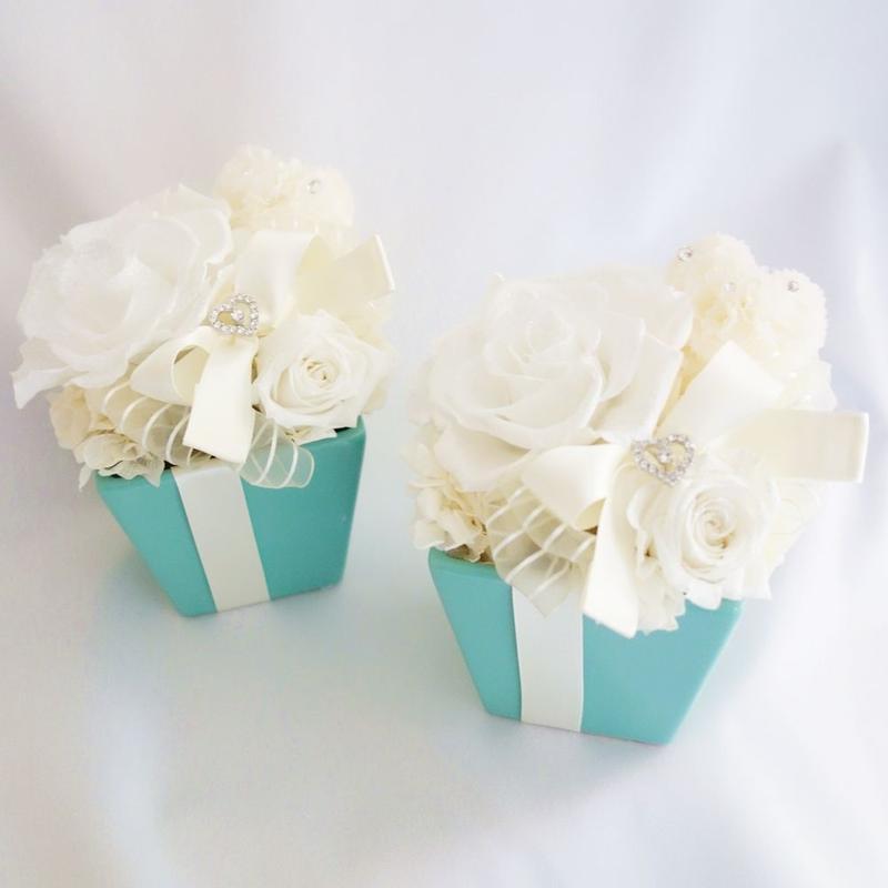 "Design Flower   ""Tiffany blue FLOWER""   ティファニーブルーの上品アレンジ"