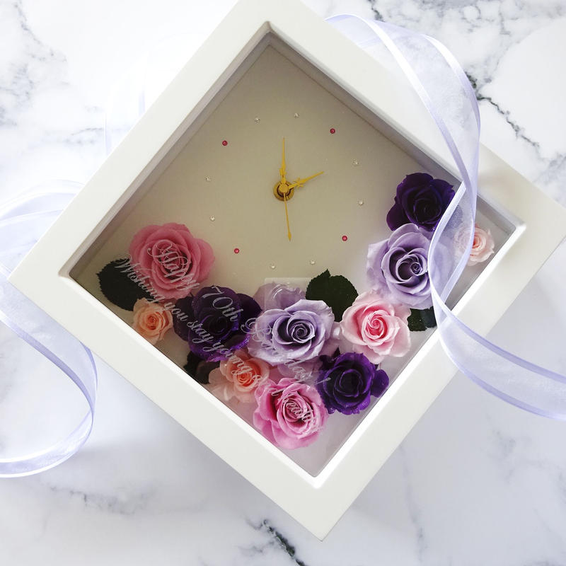"""《名入れギフト・メッセージ刻印》message ROSE  """"flower time""""    プリザーブドフラワーの大人可愛い花時計"""