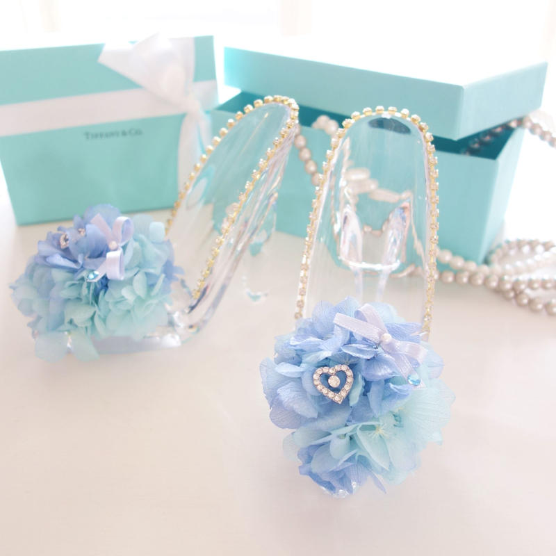 "Cinderella ""ajisai drop"" ♡ゼクシィ掲載♡ガラスの靴のあじさいリングピロー"