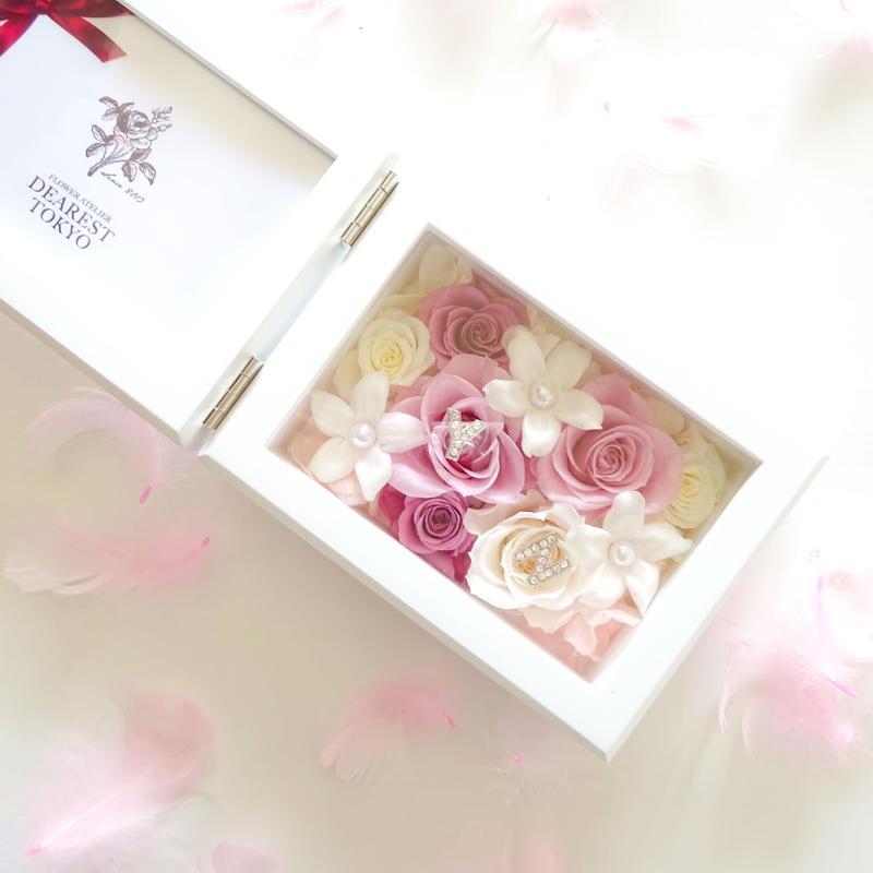 "MEMORIES  ""happy wedding(PINK)""  新郎新婦(カップル)のイニシャル入りフォトフレーム"
