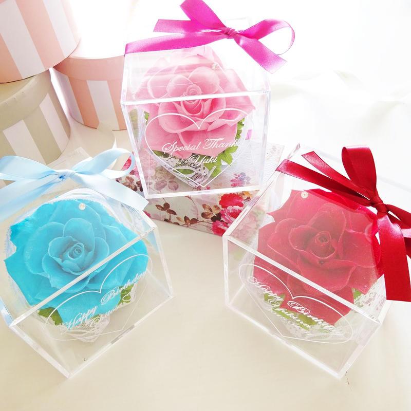 """《名入れギフト☆メッセージ刻印》選べる3color! message ROSE """"Rose bouquet"""" 一輪のバラのフラワーボックス"""
