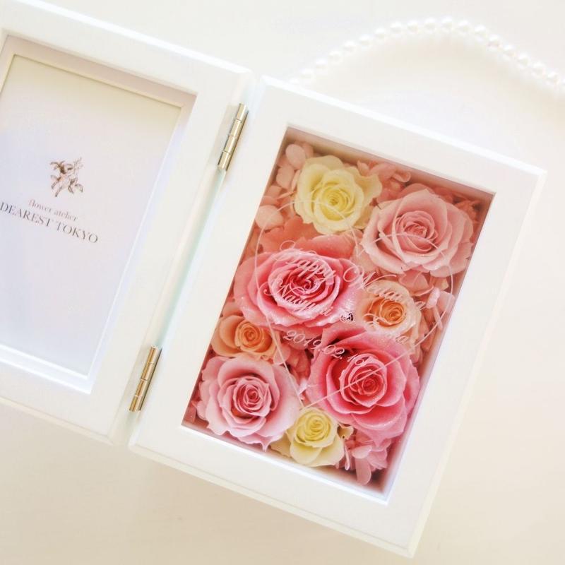 """《名入れギフト☆メッセージ刻印》MEMORIES """"Rose Pink"""" ピンクで仕上げる可愛いフォトフレーム"""