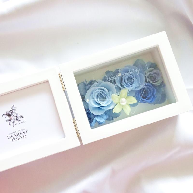 """《名入れギフト☆メッセージ刻印》MEMORIES """"Ligne de fleur""""(BLUE) お花畑のようなプリザーブドフラワーのフォトフレーム"""