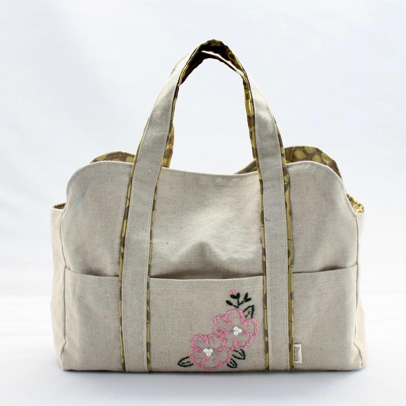 ビーズ刺繍バック(つばき)