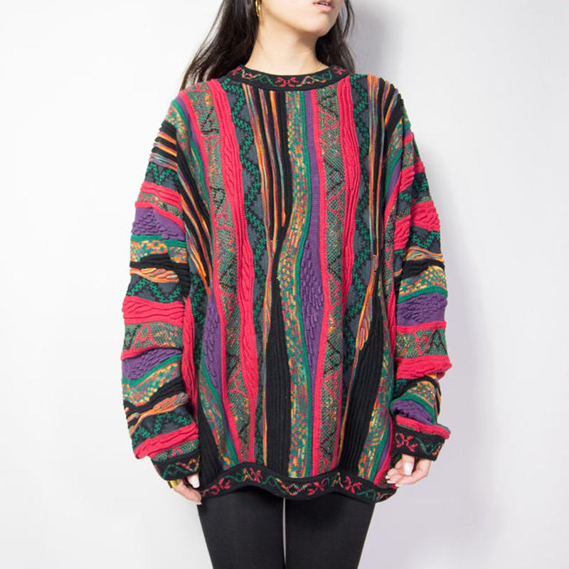 Norm Thompson 3D Design Cotton Knit Sweater カナダ製