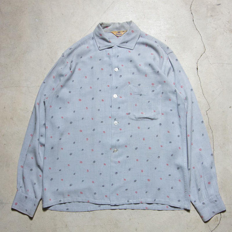 60's WALDORF Atomic Pattern Open Collar Shirts アトミック 渦巻き
