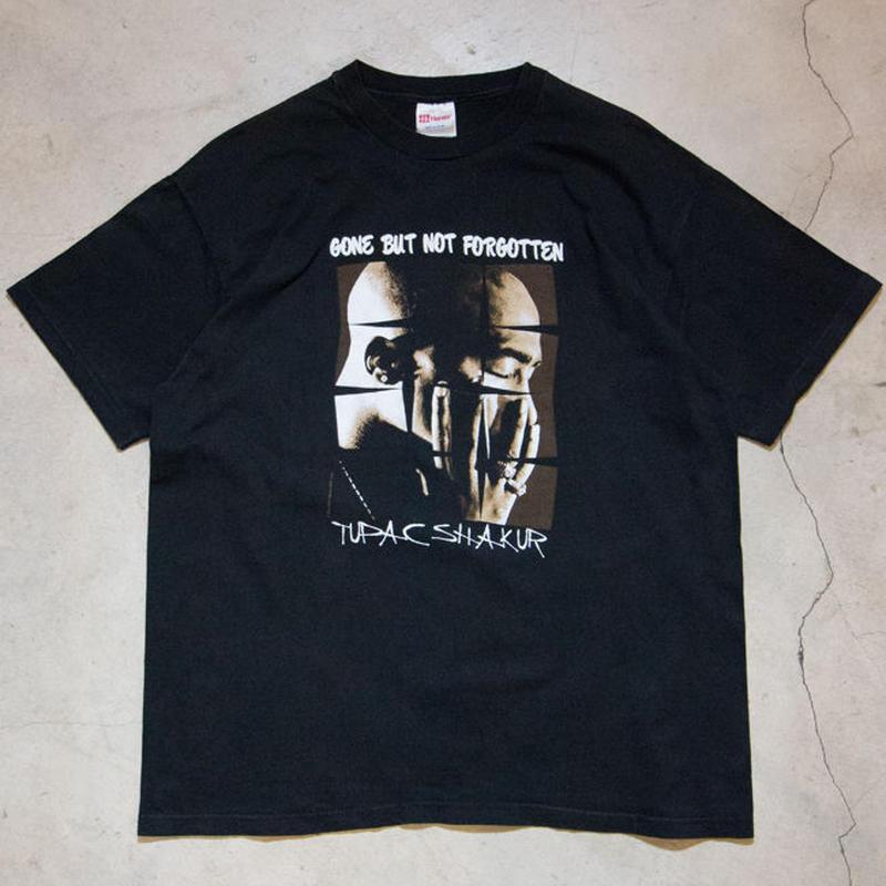 "90's Tupac Shakur ""GONE BUT NOT FORGOTTEN"" S/S T-shirts ヒップホップ"