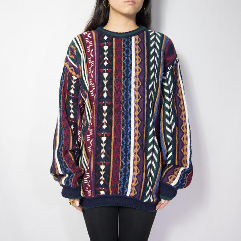 USA製 CHAPS Geometric Patterned Cotton Knit Sweater