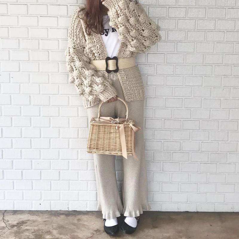 ニット裾フリルパンツ