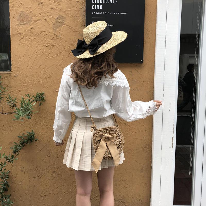 ピンクベージュミニプリーツスカート