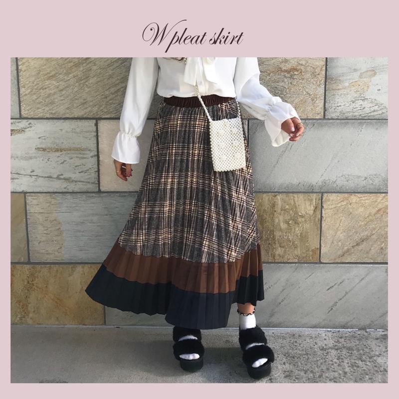 ダブルカラープリーツスカート