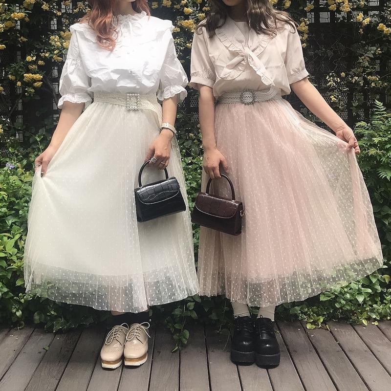 チュールホワイトドットスカート