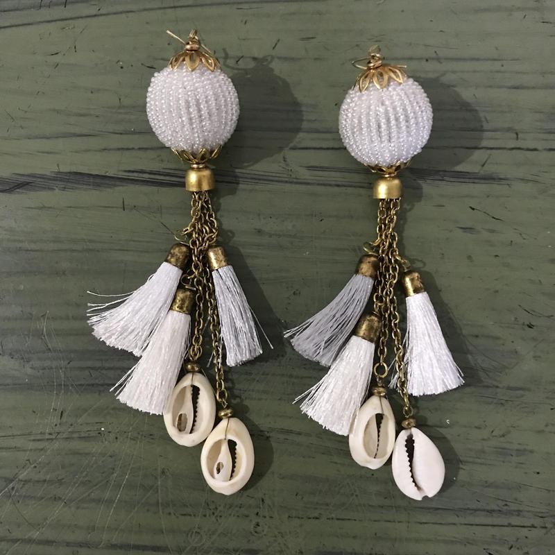 Beads ball pierced earrings