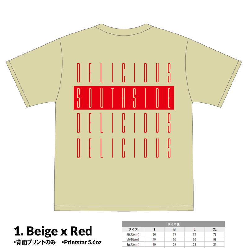 【先行予約】SOUTHSIDE DELICIOUS TeeShirt (1: Beige x Red)