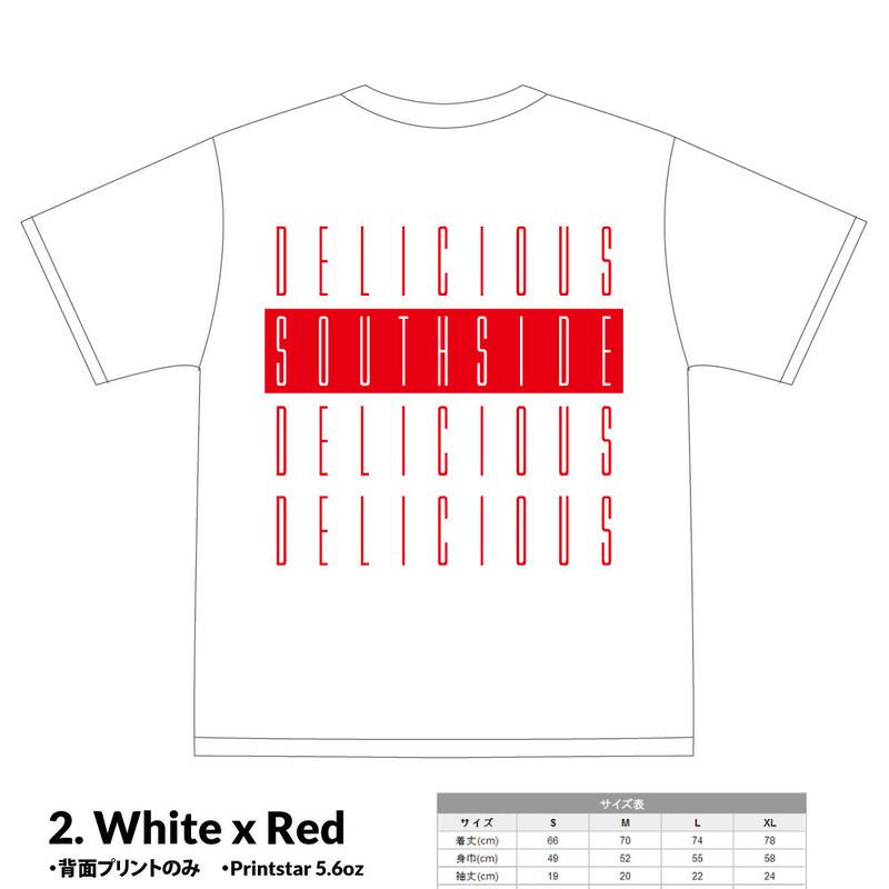 【先行予約】SOUTHSIDE DELICIOUS TeeShirt (2: White x Red)