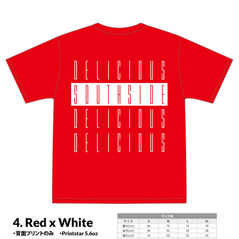【先行予約】SOUTHSIDE DELICIOUS TeeShirt (4: Red x White)
