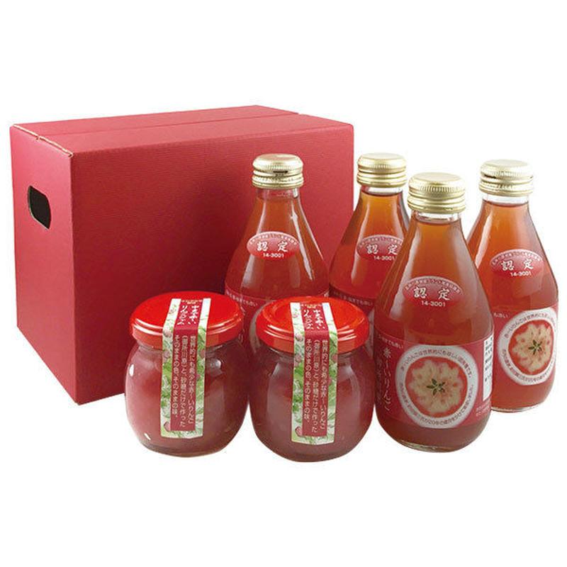 ●中まで赤〜いりんごジャム 100g╳2 ●中まで赤〜いりんごジュース 小瓶180ml╳4
