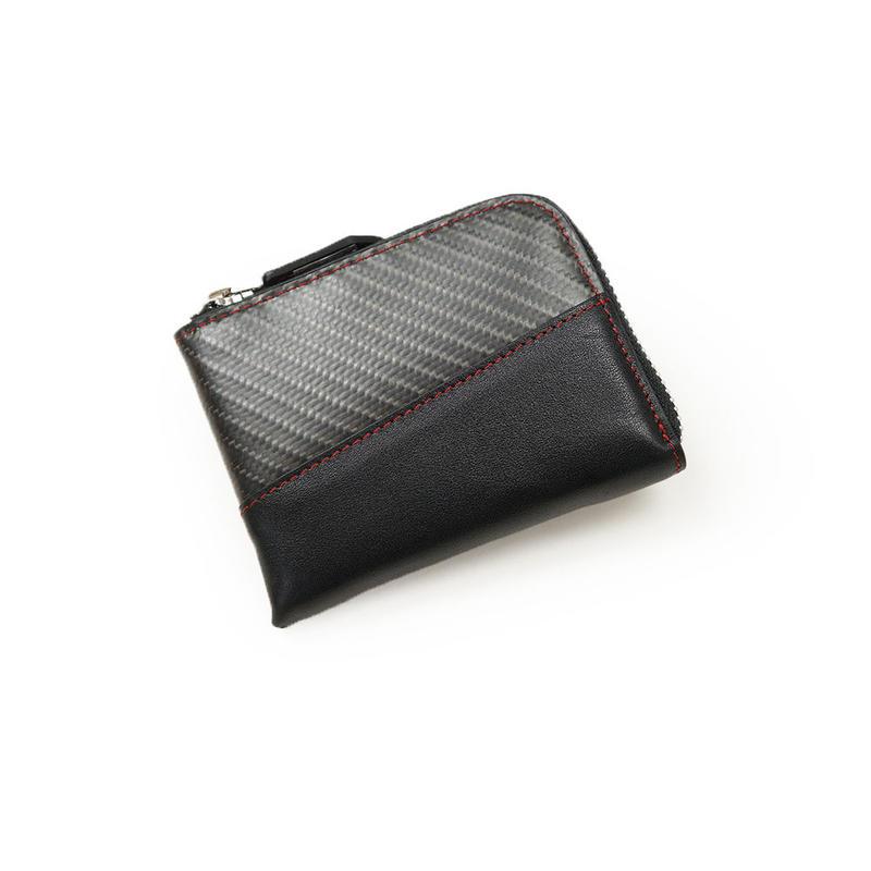 牛革×リアルカーボンL字ミニ財布