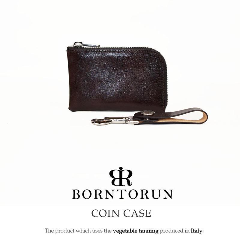 BONTORUN イタリア ヌメ革コインケース ストラップ付き(ベジタブルタンニン鞣し)