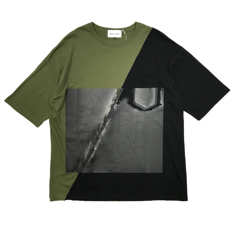 slash wall tee (khaki × black)