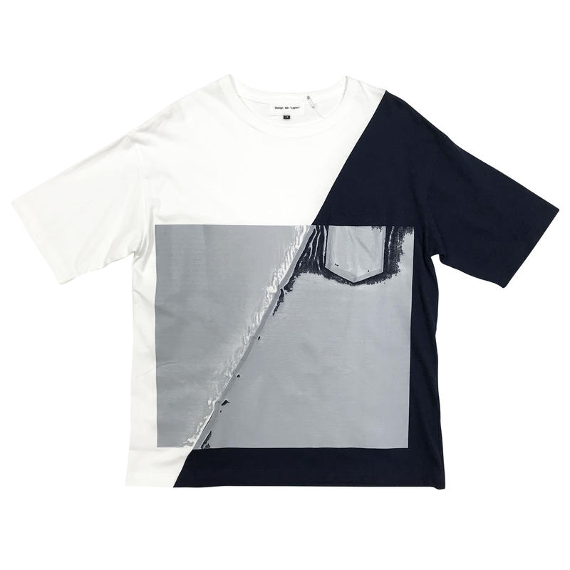 slash wall tee(white × navy)