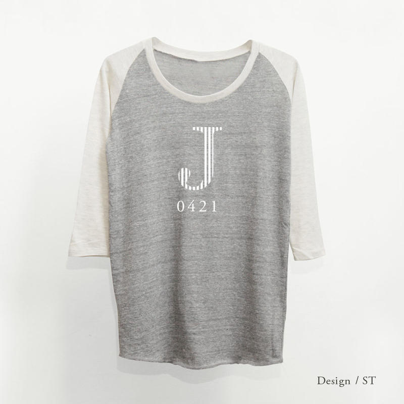 レディース トライブレンド7分袖ラグランTシャツ/ ヘザーグレー × オートミール(袖)