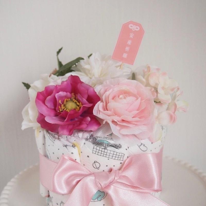おむつケーキ1段「安産祈願 pink 」