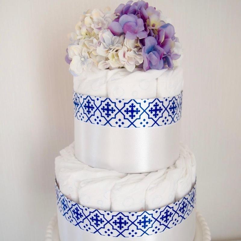 おむつケーキ2段『morocco blue』