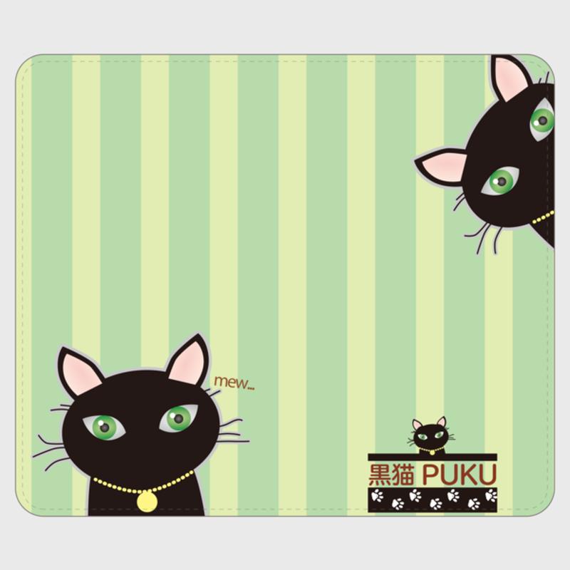 黒猫PUKU 手帳型帯なしandroidケース グリーン01