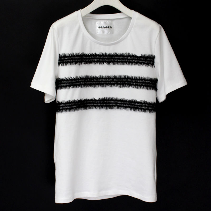 BORDER LACE T-SHIRTS / 99 BLACK